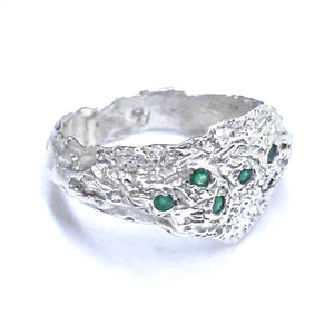emerald and sterling ring, handmade jewelry, artisan jewelry. gem division, nz jewellery