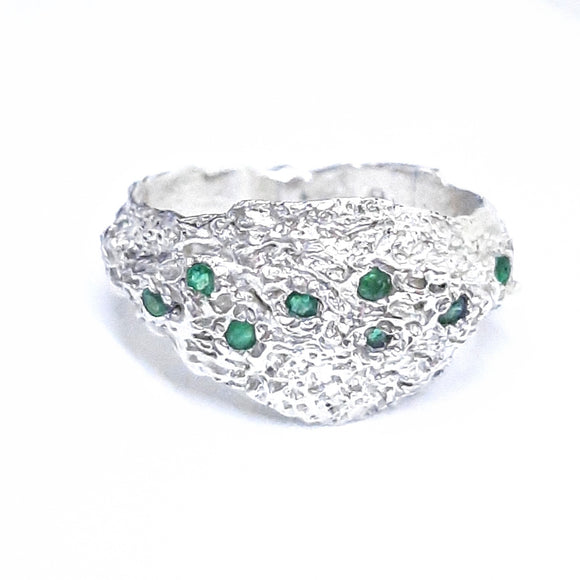 Multi Emerald Textured Ring - S