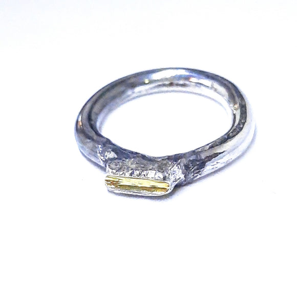 Sterling silver and 22ct gold ring, gem division, artisan handmade jewelry. nzmade