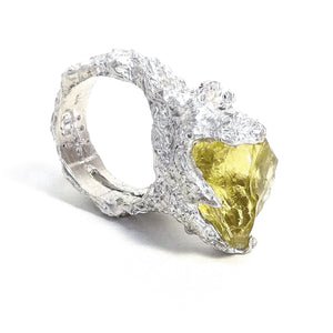Stunning Lemon quartz and sterling silver hand made textured ring. Gem division contemporary jewellery, organic style, one off, brutalist, art jewelry