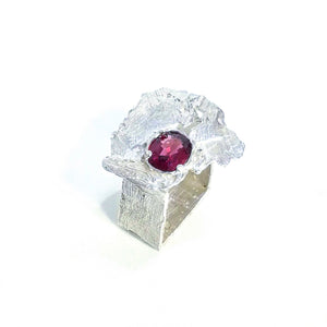 Rhodolite and Sterling silver square ring. Gem Division contemporary jewellery, organic style, handmade, one off