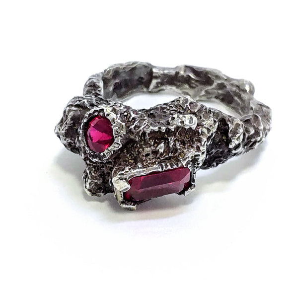 Ruby and Oxidized Sterling Silver Ring. Gem division contemporary jewellery, organic, one off, handmade