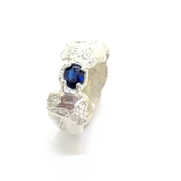 Beautiful Sapphire and Sterling textured ring. Gem Division contemporary jewellery, organic style, handmade, one off