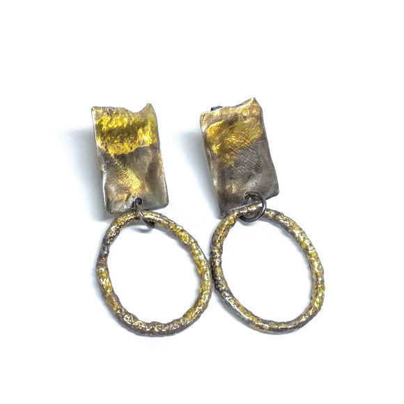Gold and silver earrings gem division, contemporary jewellery, handmade, one off, nz jewellery , nzmade, wellington
