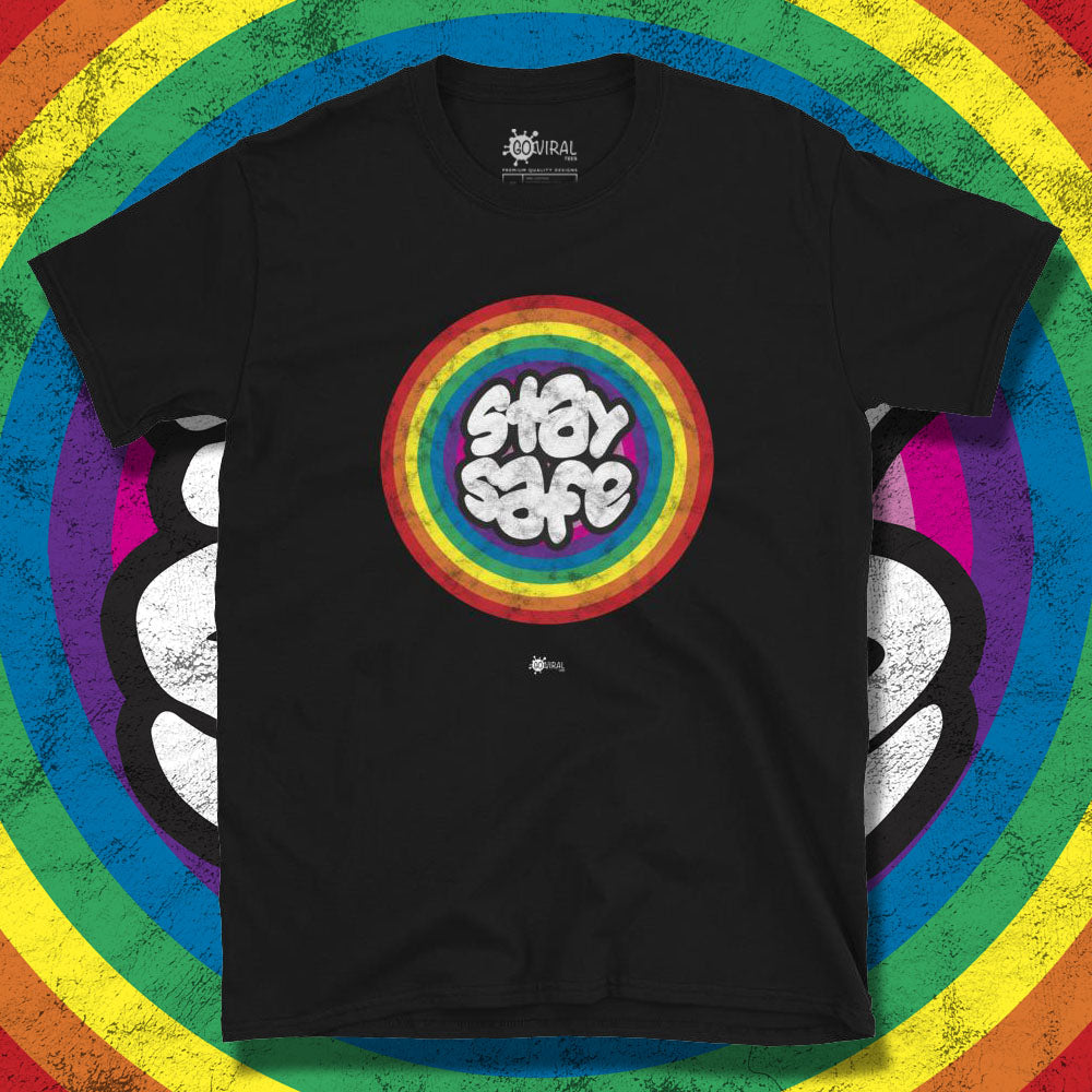 Go Viral Tees - Social Distancing T-Shirts - Stay Safe Rainbow - Black