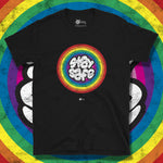 Load image into Gallery viewer, Go Viral Tees - Social Distancing T-Shirts - Stay Safe Rainbow - Black