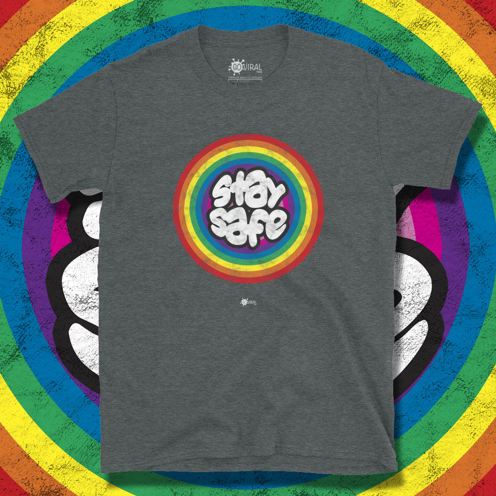 Go Viral Tees - Social Distancing T-Shirts - Stay Safe Rainbow - Dark Heather