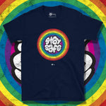 Load image into Gallery viewer, Go Viral Tees - Social Distancing T-Shirts - Stay Safe Rainbow - Navy