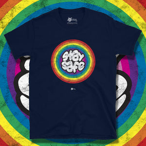 Go Viral Tees - Social Distancing T-Shirts - Stay Safe Rainbow - Navy