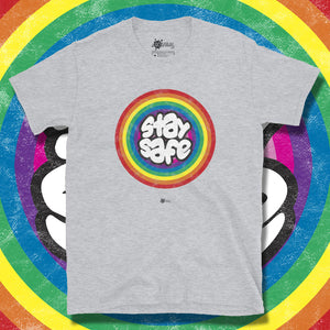 Go Viral Tees - Social Distancing T-Shirts - Stay Safe Rainbow - Sport Grey