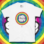 Load image into Gallery viewer, Go Viral Tees - Social Distancing T-Shirts - Stay Safe Rainbow - White
