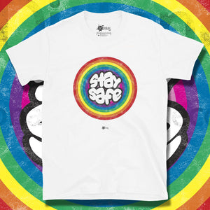Go Viral Tees - Social Distancing T-Shirts - Stay Safe Rainbow - White