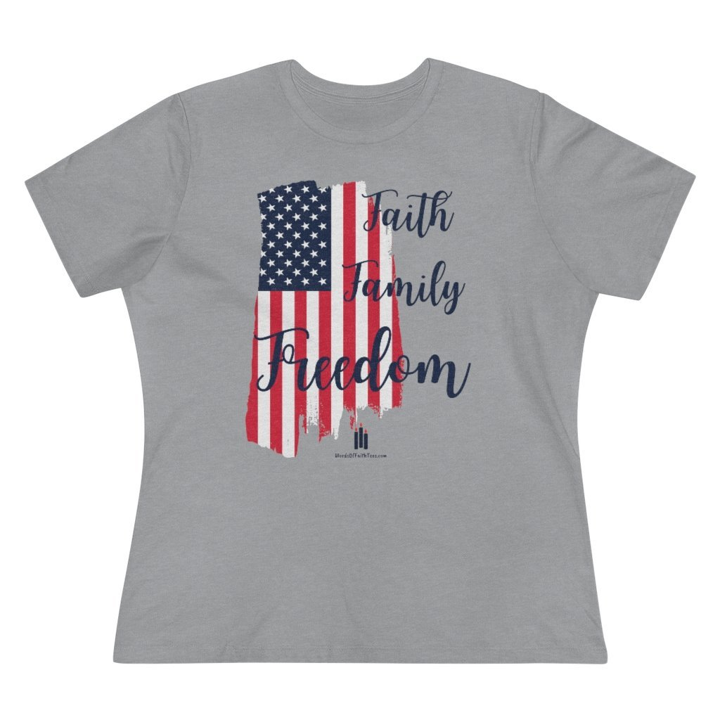 Faith Family Freedom Patriotic American Women's Relaxed Fit Premium T-Shirt - Words of Faith Tees