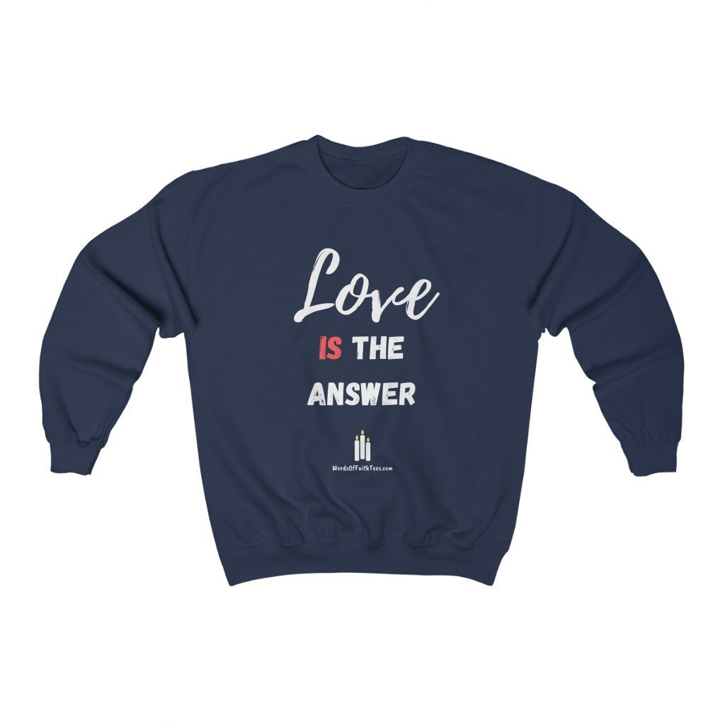 Love Is the Answer - Heavy Blend™ Crewneck Sweatshirt - Words of Faith Tees