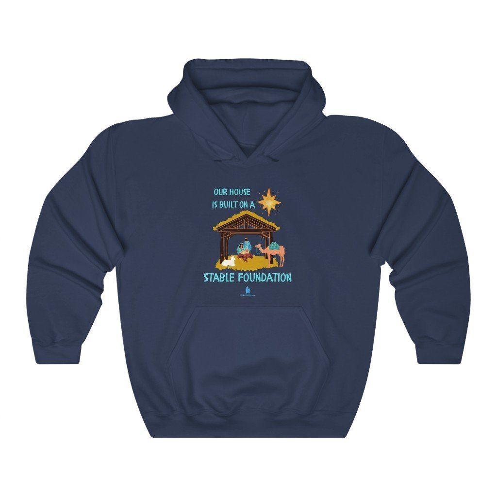 Stable Foundation Christmas Hooded Sweatshirt - Words of Faith Tees