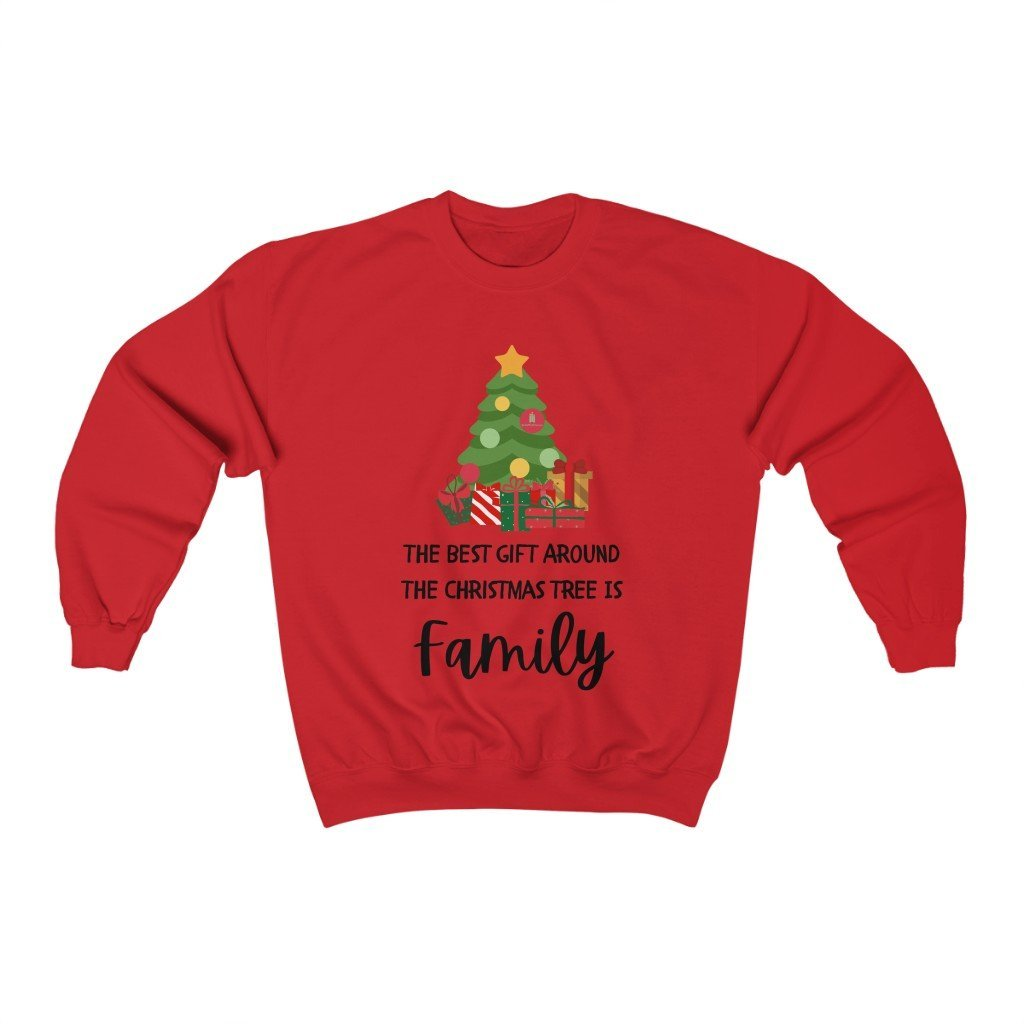 The Best Gift Around the Christmas Tree is Family Crewneck Sweatshirt - Words of Faith Tees