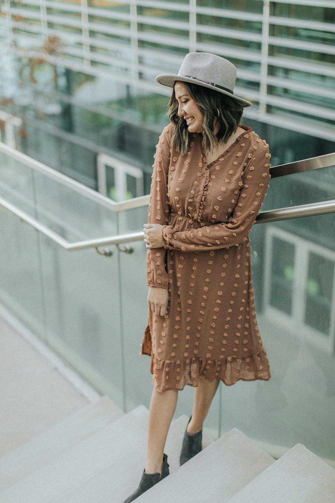 Midi Ruffle Swiss Dot Dress