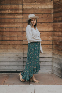 Prairie High-Low Skirt in Teal