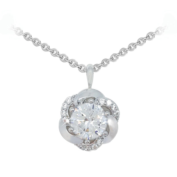 Silver Pendant Round Stone With Crystal Surround