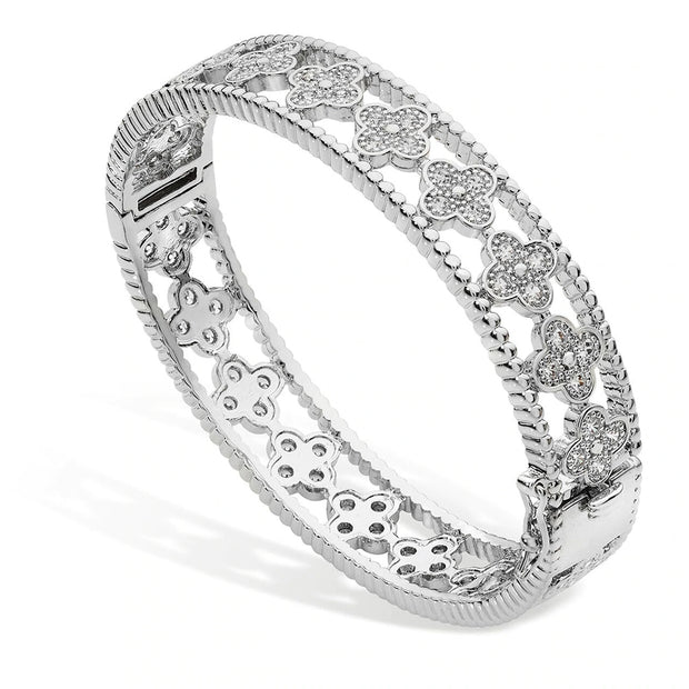 Multiple Flower Bangle - Silver