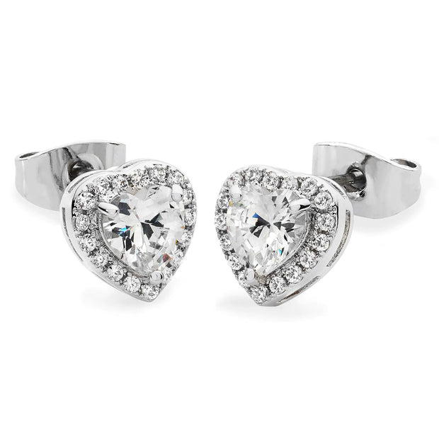 Diamante Heart Stud Earrings Silver