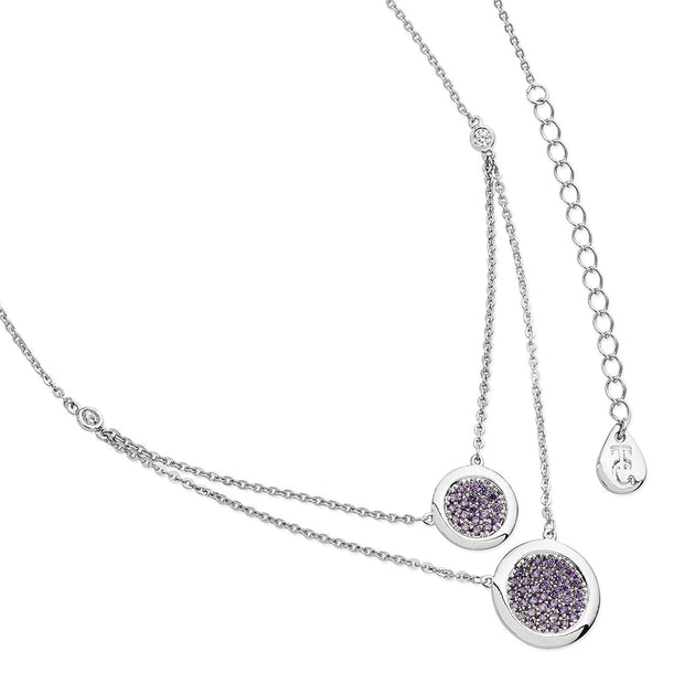 Lavender Double Moon Drop Pendant Silver