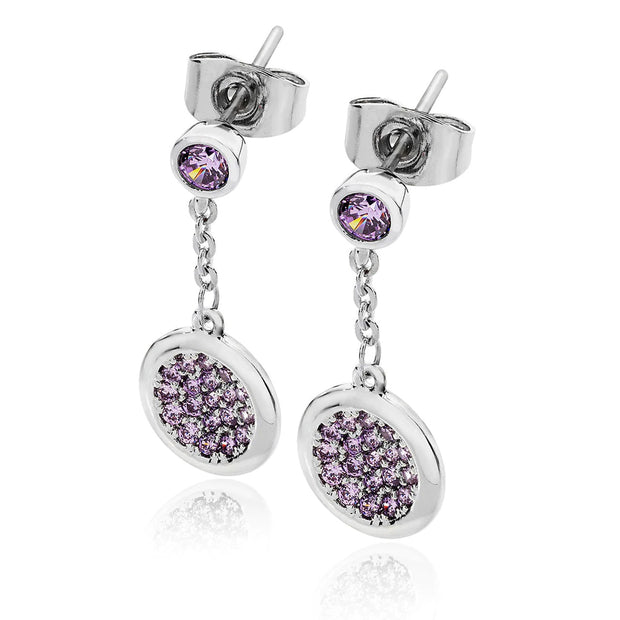 Lavender Double Moon Drop Earrings Silver