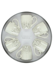 Tipperary Crystal Silver Dot S/6 Mugs