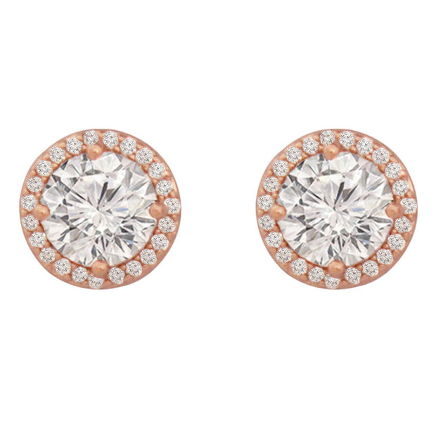Simple CZ Earrings - Rose Gold
