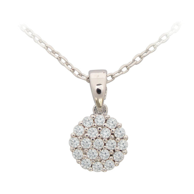 White Simple CZ Disc Drop Pendant