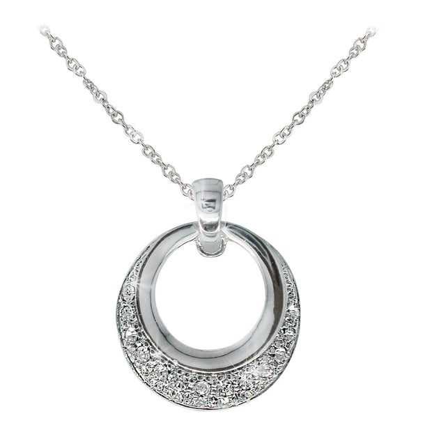 Silver Circle Polished & Pave Pendant