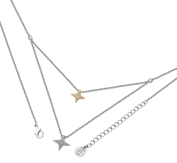 Double Floating Pave Star Necklace Silver