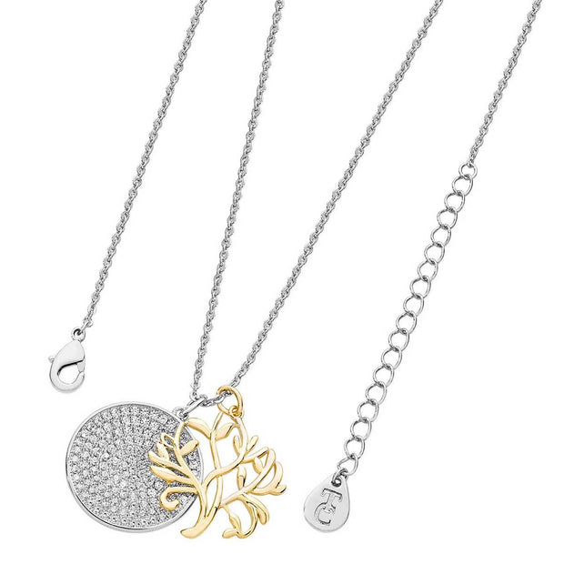 Tree Of Life With Round Pave Disc Silver