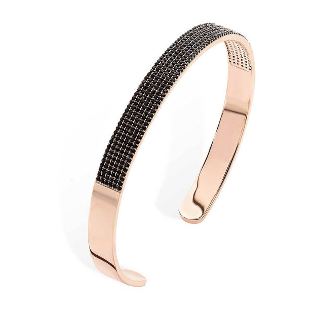 Noir Plain Rose Gold Black Pave Bangle
