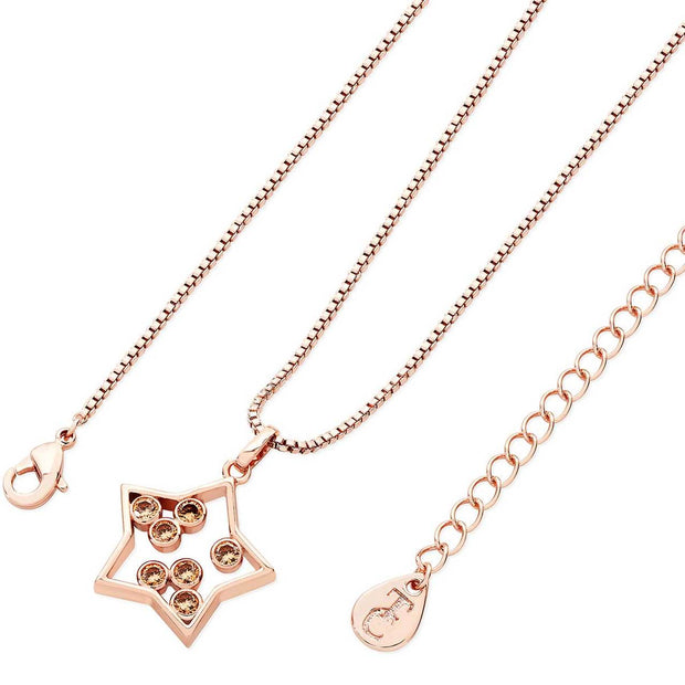 Star Rose Gold Open Pendant With Amber CZ