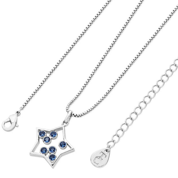 Star Solver Open Pendant With Blue CZ
