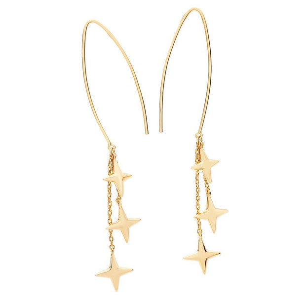 Stars Falling Champagne Gold Earrings