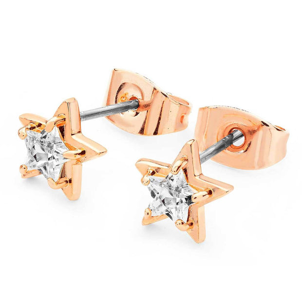 Star Clear CZ Stud Rose Gold Earrings