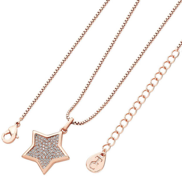 Star Shaped Pave Pendant Rose Gold
