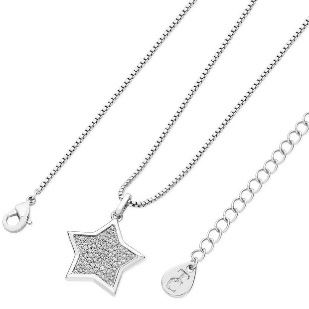 Star Shapped Pave Pendant Silver