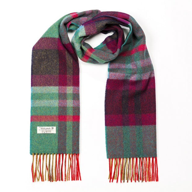 Irish Wool Scarf Short Green Maron Check