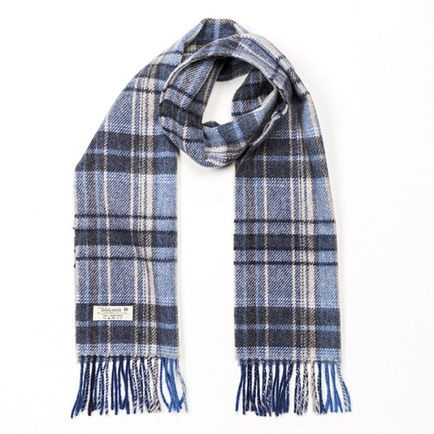 Lambswool 30 x 150 cm - blue grey and cream mix check