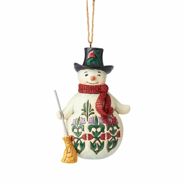 Snowman with Broom Hanging Ornament