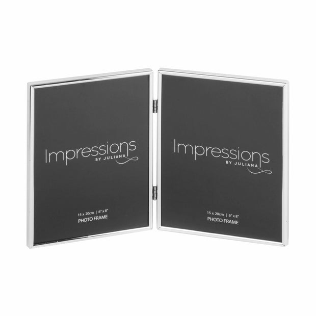 "Impressions Silver Plated Thin Double Photo Frame 6"" x 8"""