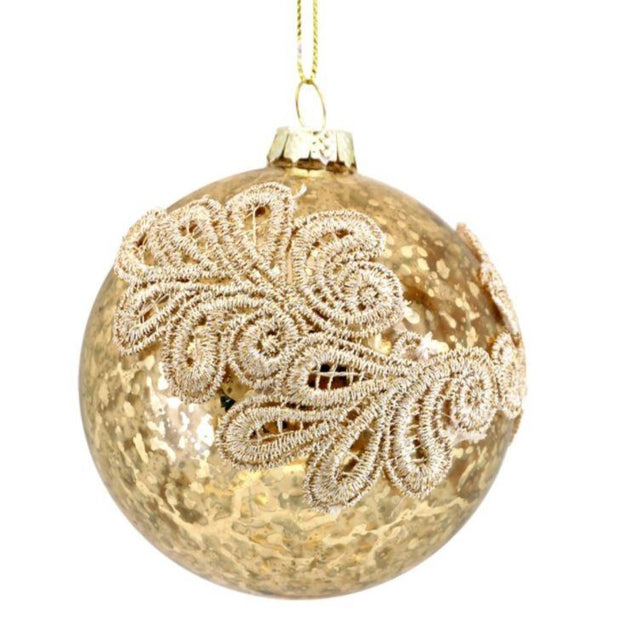 Gisela Graham Glass Bauble Antique Gold/Gold Embroidered