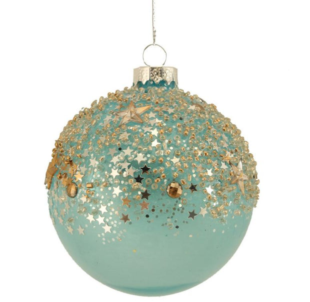 Gisela Graham Glass Bauble 8cm - Blue/Gold Stars
