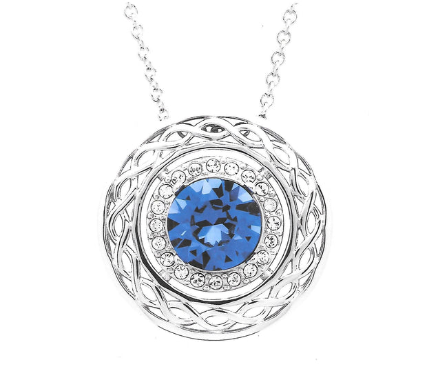 Silver Celtic Halo Pendent Necklace With Blue Sapphire Swarovski Crystals