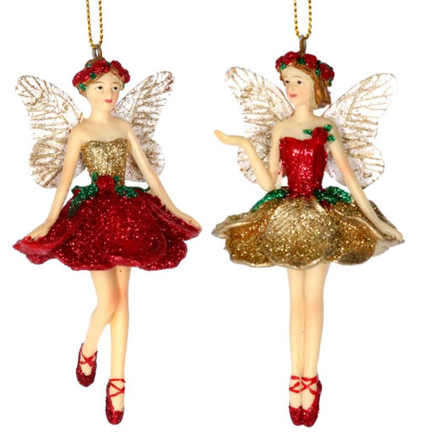 Gisela Graham Set of 2 Fairies Red & Gold Roses