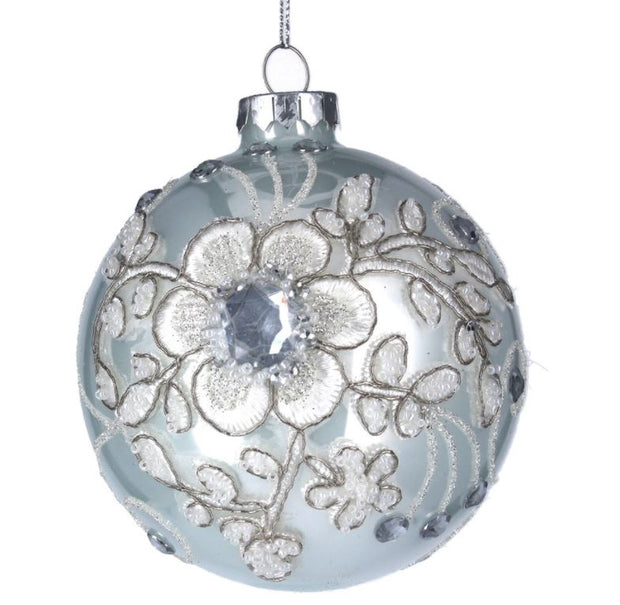 Gisela Graham Glass Bauble 10cm - White/Fabric Flower