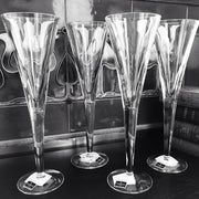 John Rocha Crystal Incline Reed Champagne Flutes Glasses (Set of 4)